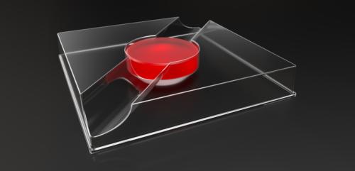 Plastic optic lens insert holding a red optic